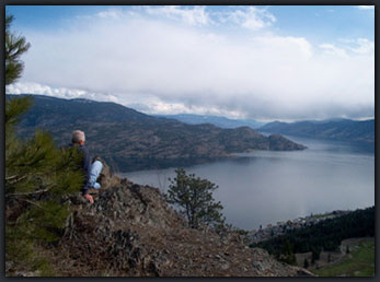 Overlooking Okanagan Lake from West Kelowna hiking trail
